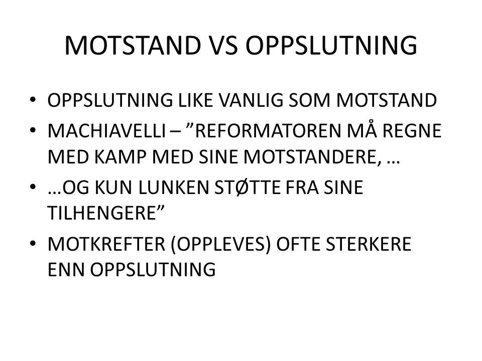 MOTSTAND VS OPPSLUTNING