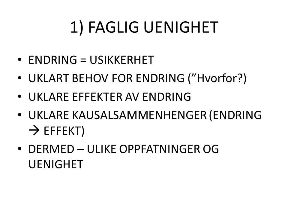 1) FAGLIG UENIGHET ENDRING = USIKKERHET