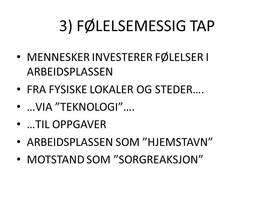 3) FØLELSEMESSIG TAP MENNESKER INVESTERER FØLELSER I ARBEIDSPLASSEN