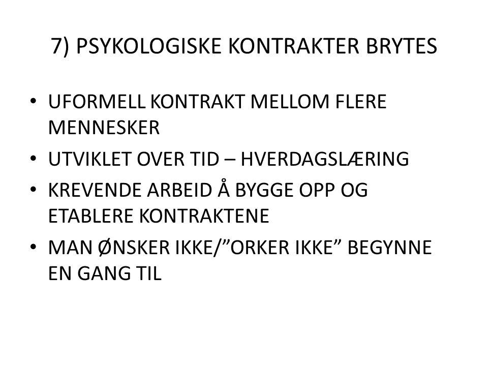 7) PSYKOLOGISKE KONTRAKTER BRYTES