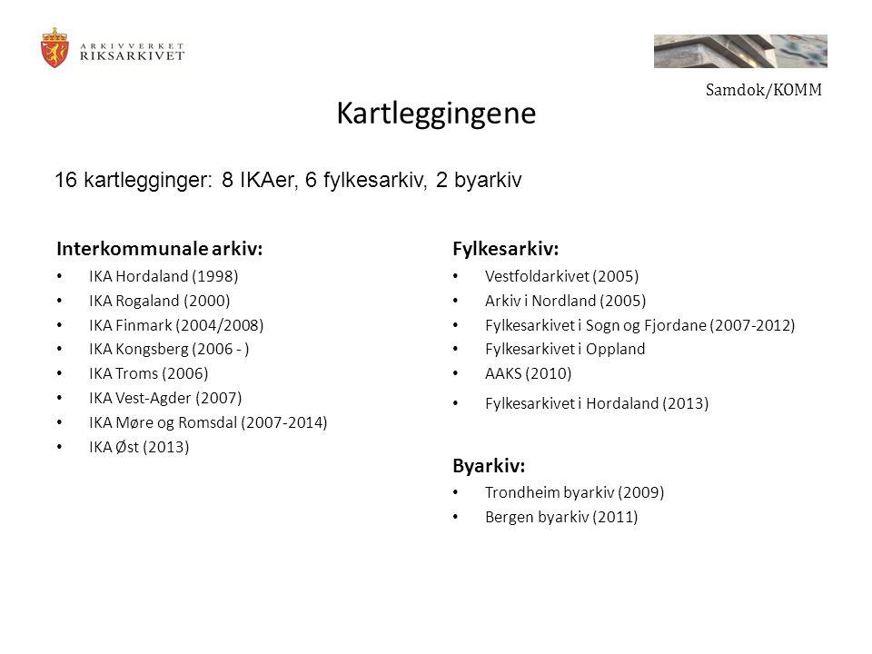 Kartleggingene 16 kartlegginger: 8 IKAer, 6 fylkesarkiv, 2 byarkiv
