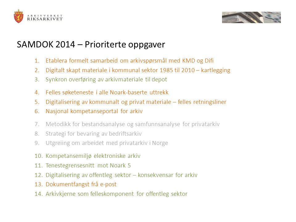 SAMDOK 2014 – Prioriterte oppgaver