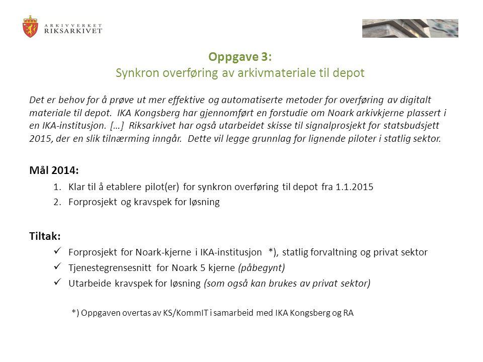 Oppgave 3: Synkron overføring av arkivmateriale til depot