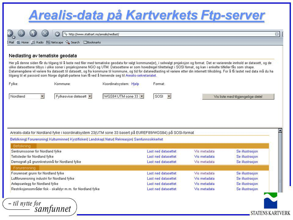 Arealis-data på Kartverkets Ftp-server