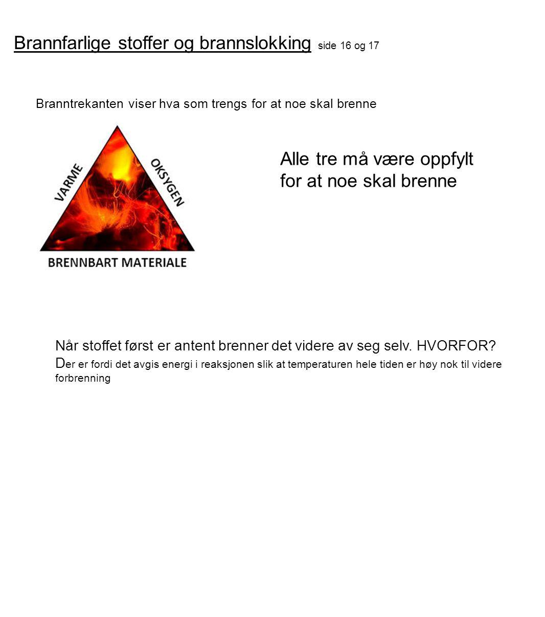 Brannfarlige stoffer og brannslokking side 16 og 17