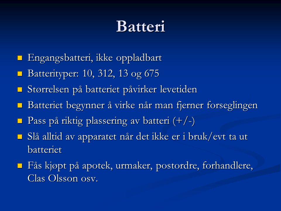 Batteri Engangsbatteri, ikke oppladbart