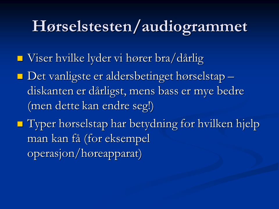 Hørselstesten/audiogrammet