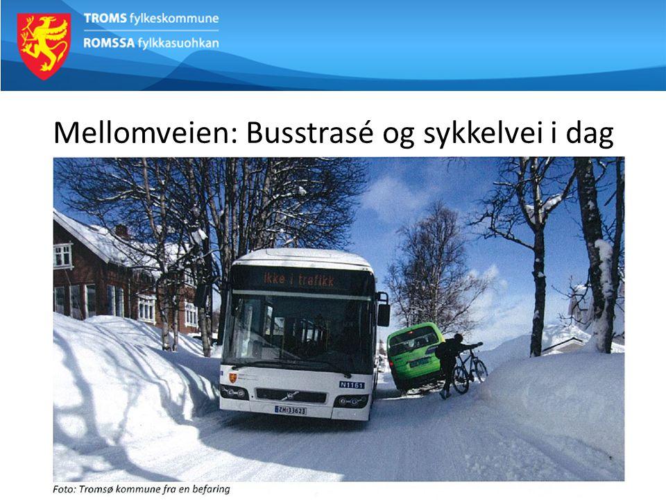 Mellomveien: Busstrasé og sykkelvei i dag