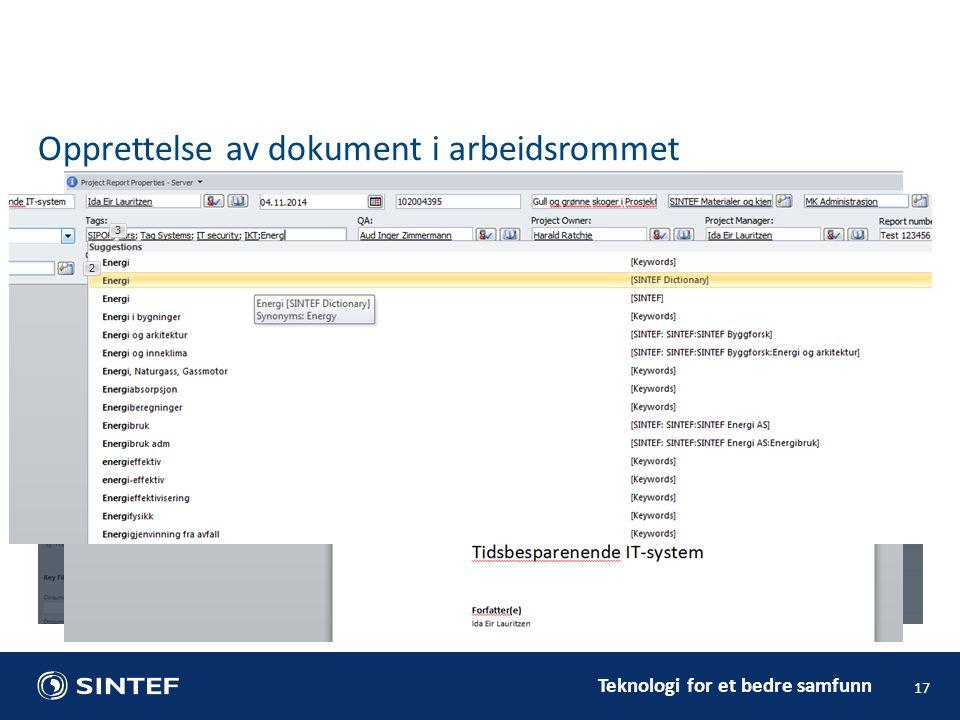 Opprettelse av dokument i arbeidsrommet