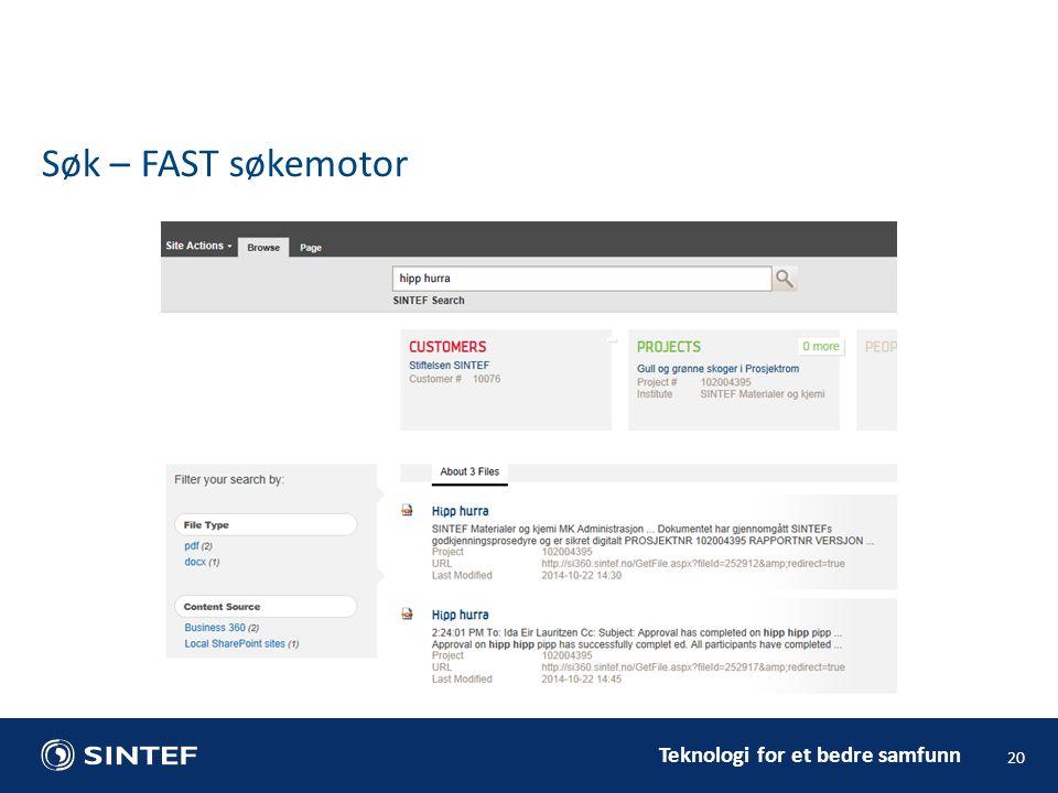 Søk – FAST søkemotor Tilgangsstyring og rettigheter