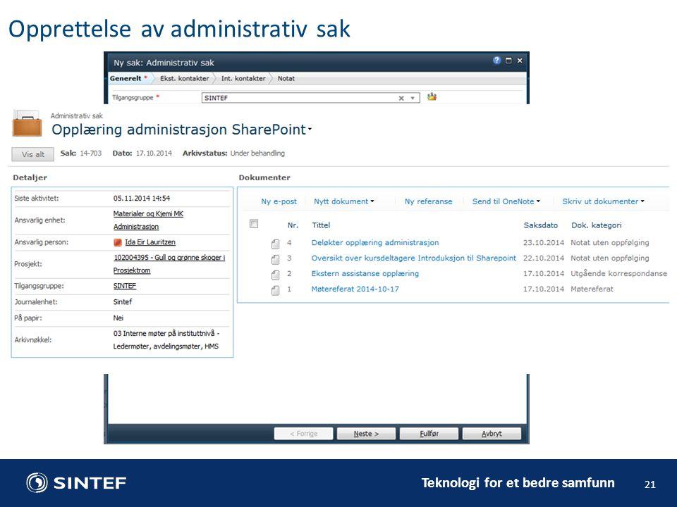 Opprettelse av administrativ sak