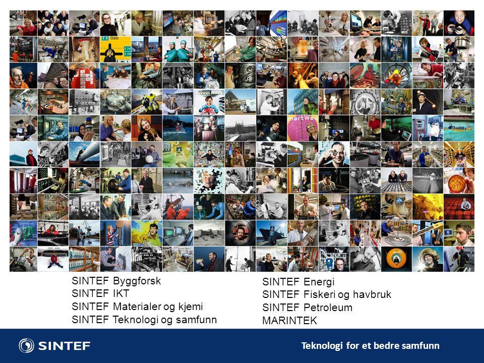 SINTEF Materialer og kjemi SINTEF Teknologi og samfunn SINTEF Energi