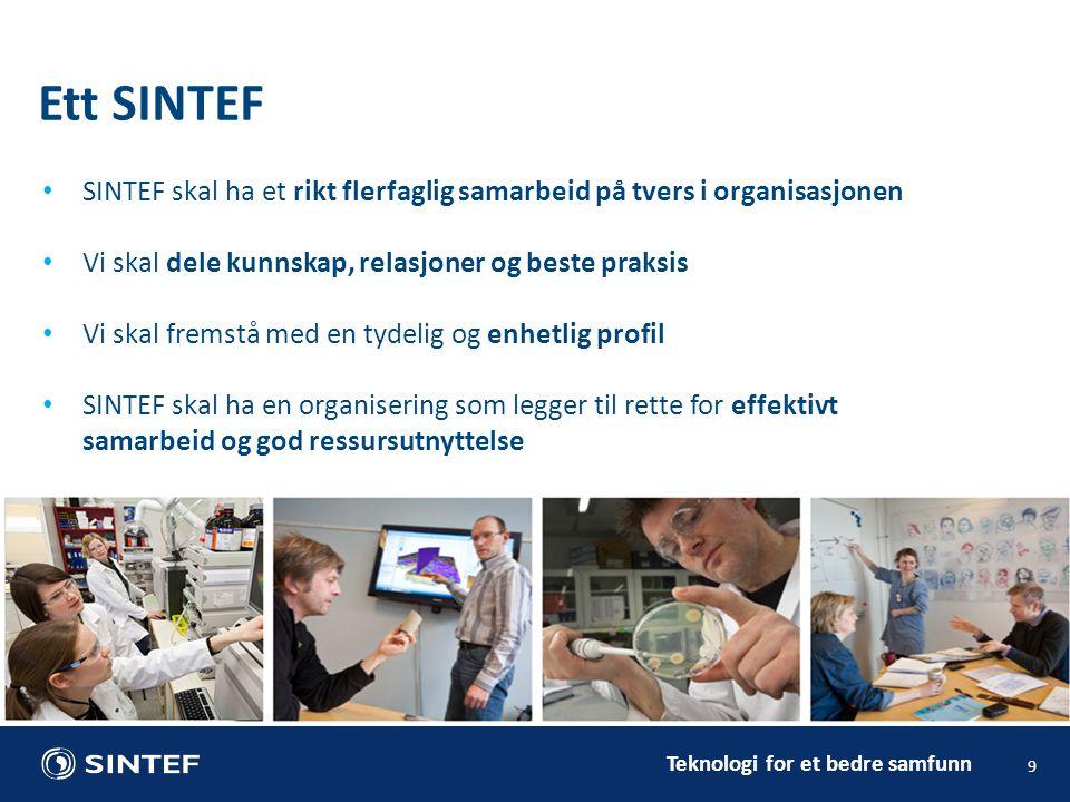 Ett SINTEF SINTEF skal ha et rikt flerfaglig samarbeid på tvers i organisasjonen. Vi skal dele kunnskap, relasjoner og beste praksis.