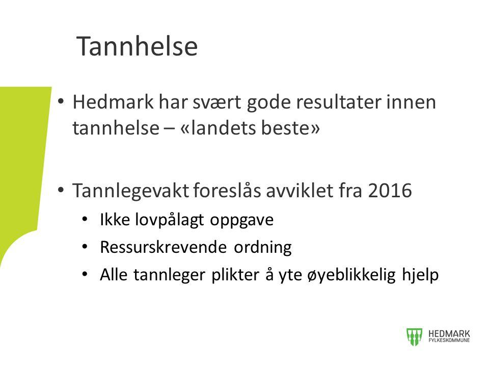 Tannhelse Hedmark har svært gode resultater innen tannhelse – «landets beste» Tannlegevakt foreslås avviklet fra 2016.