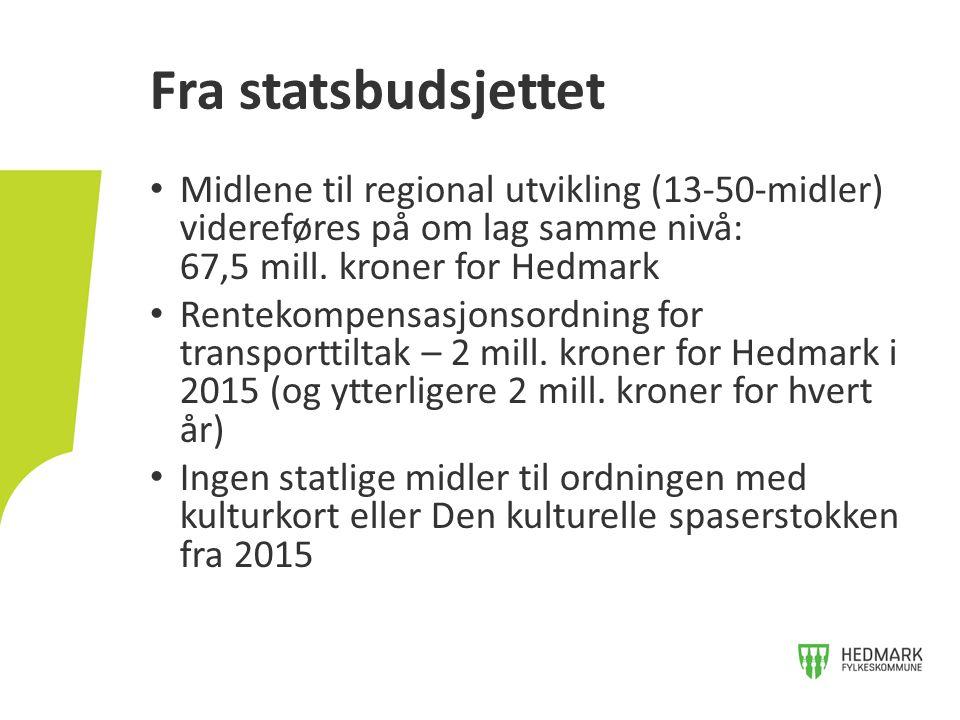 Fra statsbudsjettet Midlene til regional utvikling (13-50-midler) videreføres på om lag samme nivå: 67,5 mill. kroner for Hedmark.