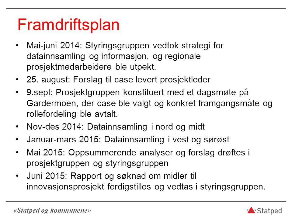 Framdriftsplan Mai-juni 2014: Styringsgruppen vedtok strategi for datainnsamling og informasjon, og regionale prosjektmedarbeidere ble utpekt.