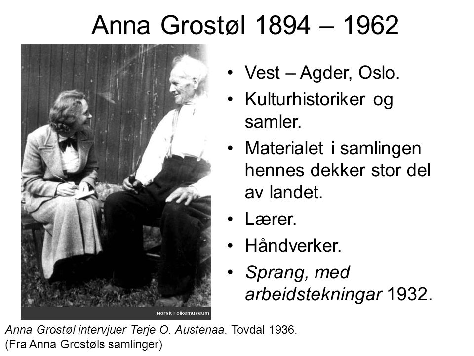 Anna Grostøl 1894 – 1962 Vest – Agder, Oslo.