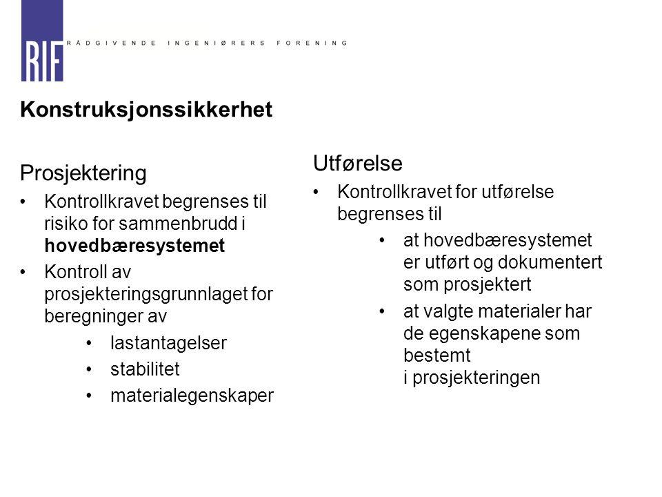 Konstruksjonssikkerhet Utførelse Prosjektering