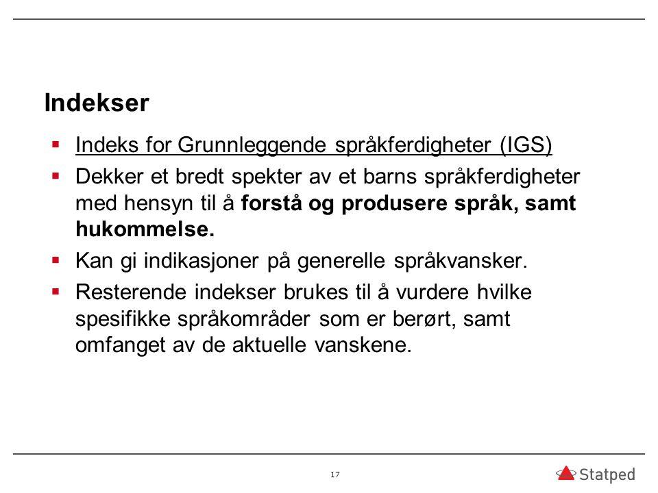 Indekser Indeks for Grunnleggende språkferdigheter (IGS)