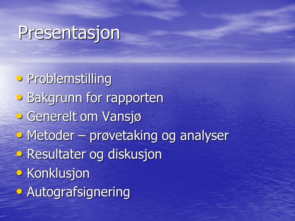Presentasjon Problemstilling Bakgrunn for rapporten Generelt om Vansjø