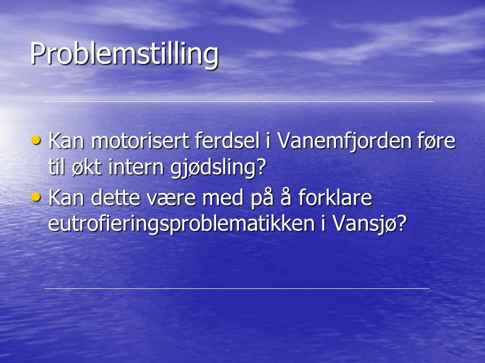 Problemstilling Kan motorisert ferdsel i Vanemfjorden føre til økt intern gjødsling