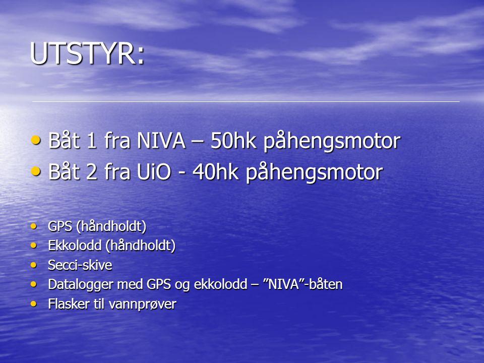 UTSTYR: Båt 1 fra NIVA – 50hk påhengsmotor