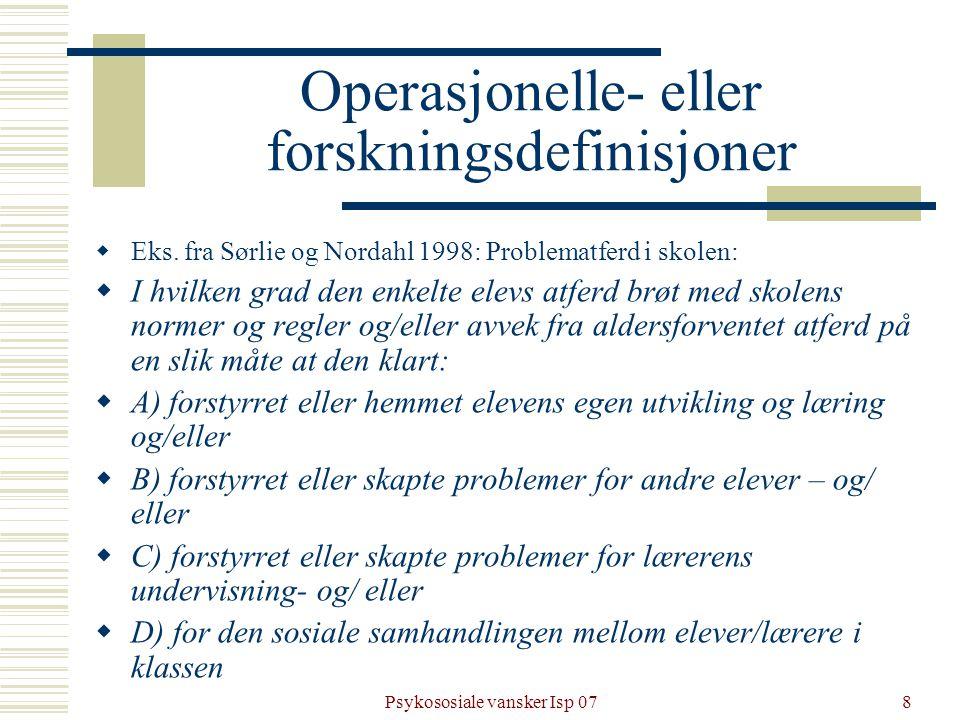 Operasjonelle- eller forskningsdefinisjoner