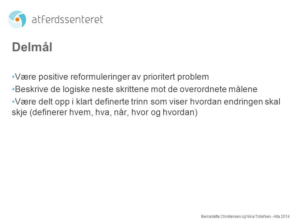 Delmål Være positive reformuleringer av prioritert problem
