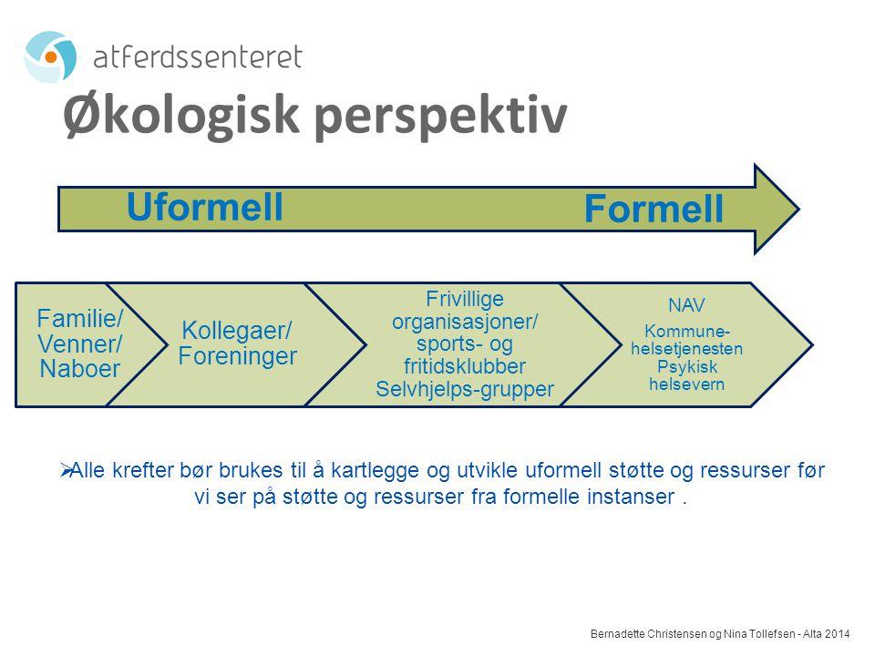 Økologisk perspektiv Uformell Formell Familie/ Venner/ Naboer