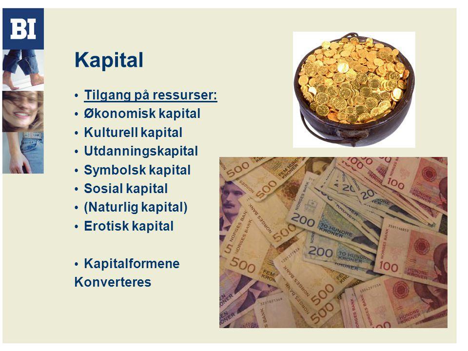Kapital Tilgang på ressurser: Økonomisk kapital Kulturell kapital