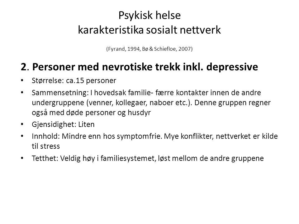 Psykisk helse karakteristika sosialt nettverk (Fyrand, 1994, Bø & Schiefloe, 2007)