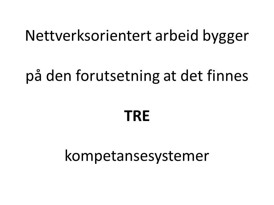 Nettverksorientert arbeid bygger på den forutsetning at det finnes TRE kompetansesystemer