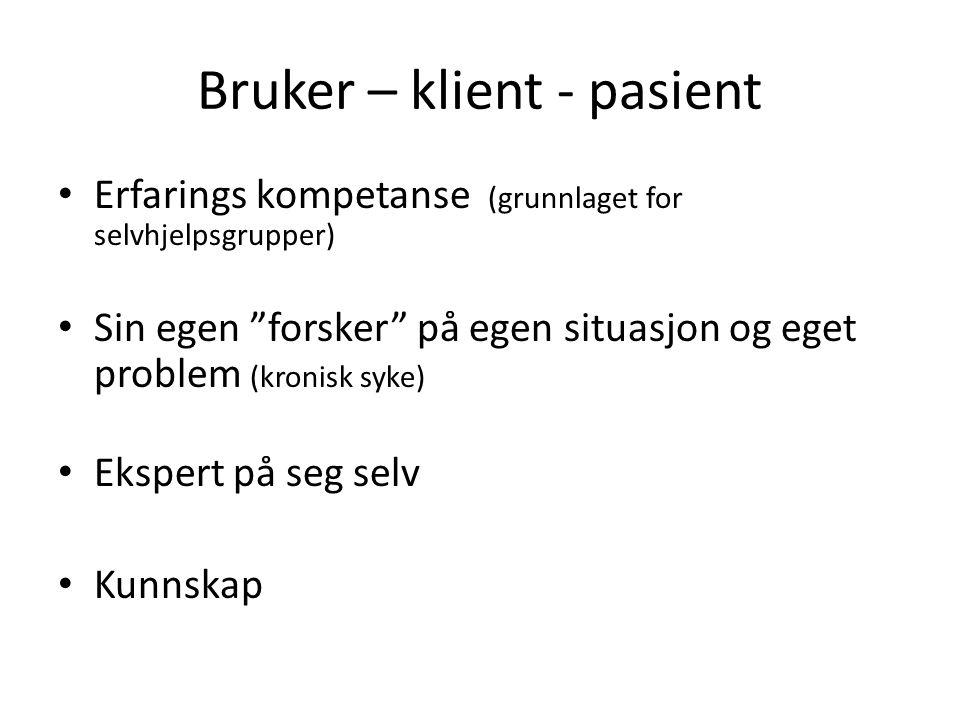 Bruker – klient - pasient