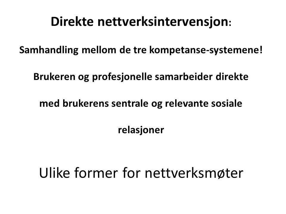 Direkte nettverksintervensjon: Samhandling mellom de tre kompetanse-systemene.