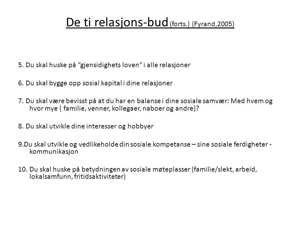 De ti relasjons-bud (forts.) (Fyrand,2005)