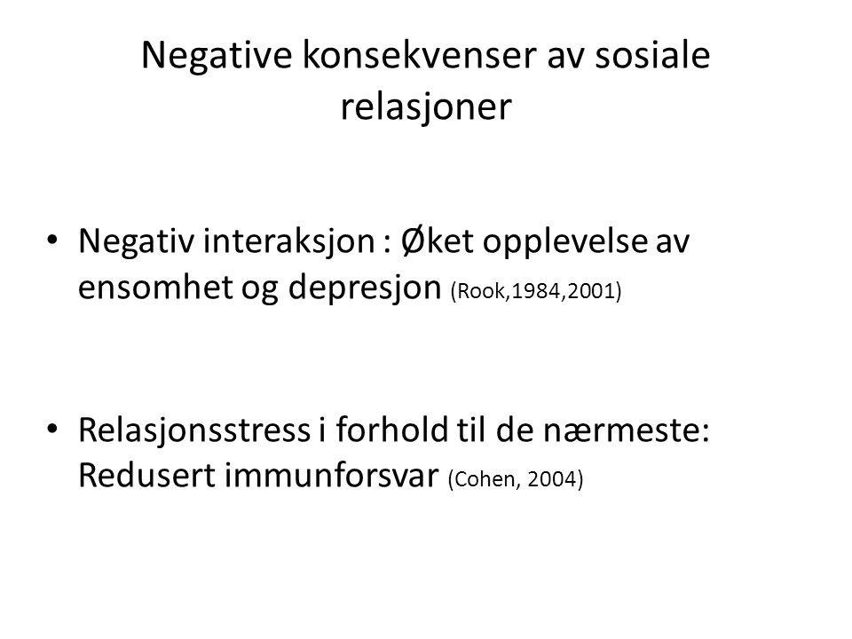 Negative konsekvenser av sosiale relasjoner