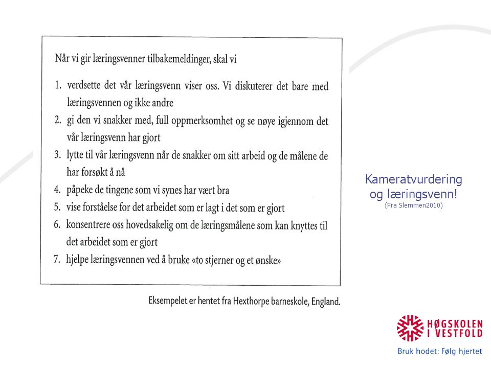 Kameratvurdering og læringsvenn! (Fra Slemmen2010)