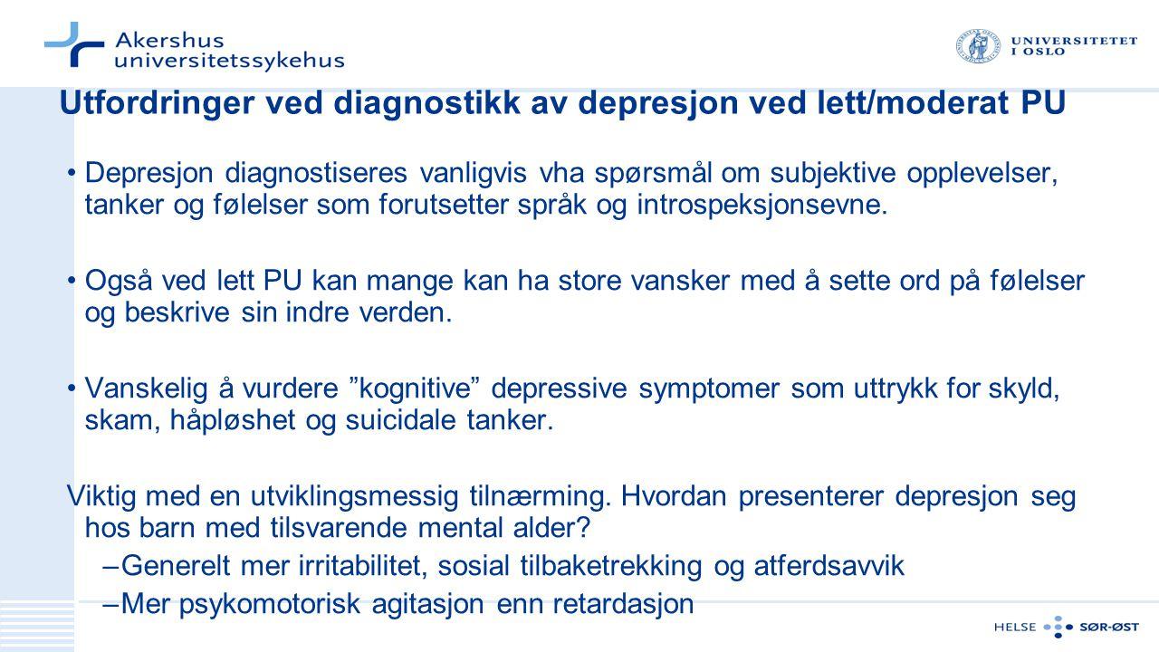 Utfordringer ved diagnostikk av depresjon ved lett/moderat PU