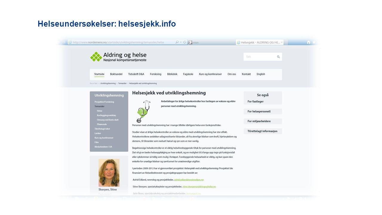 Helseundersøkelser: helsesjekk.info