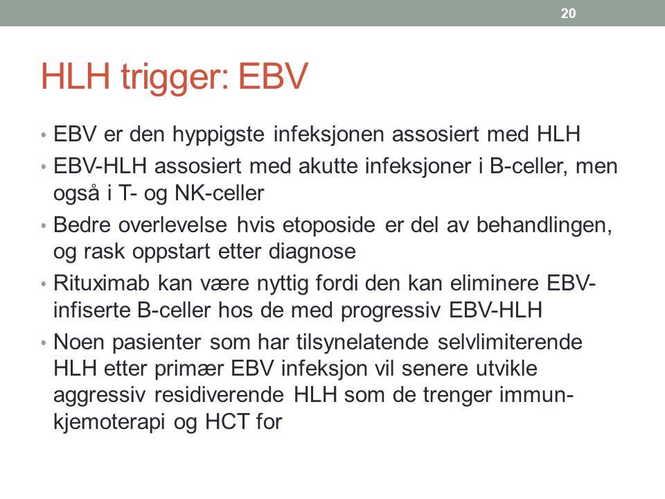 HLH trigger: EBV EBV er den hyppigste infeksjonen assosiert med HLH