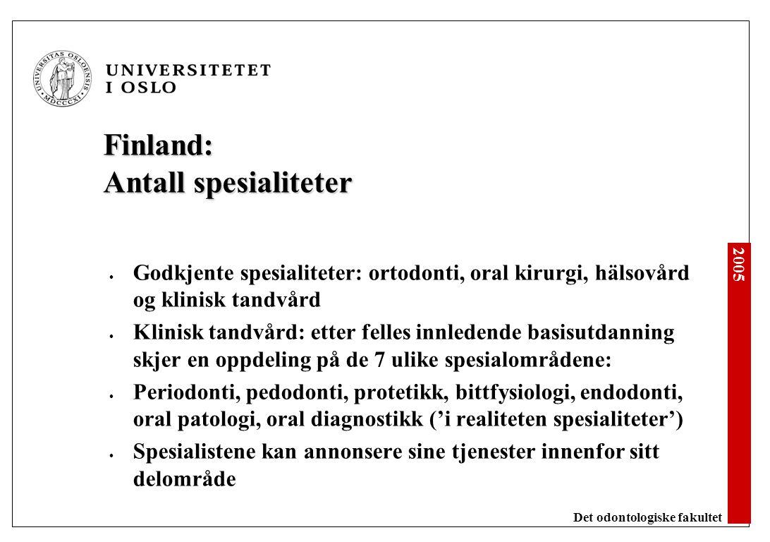Danmark: Antall spesialiteter