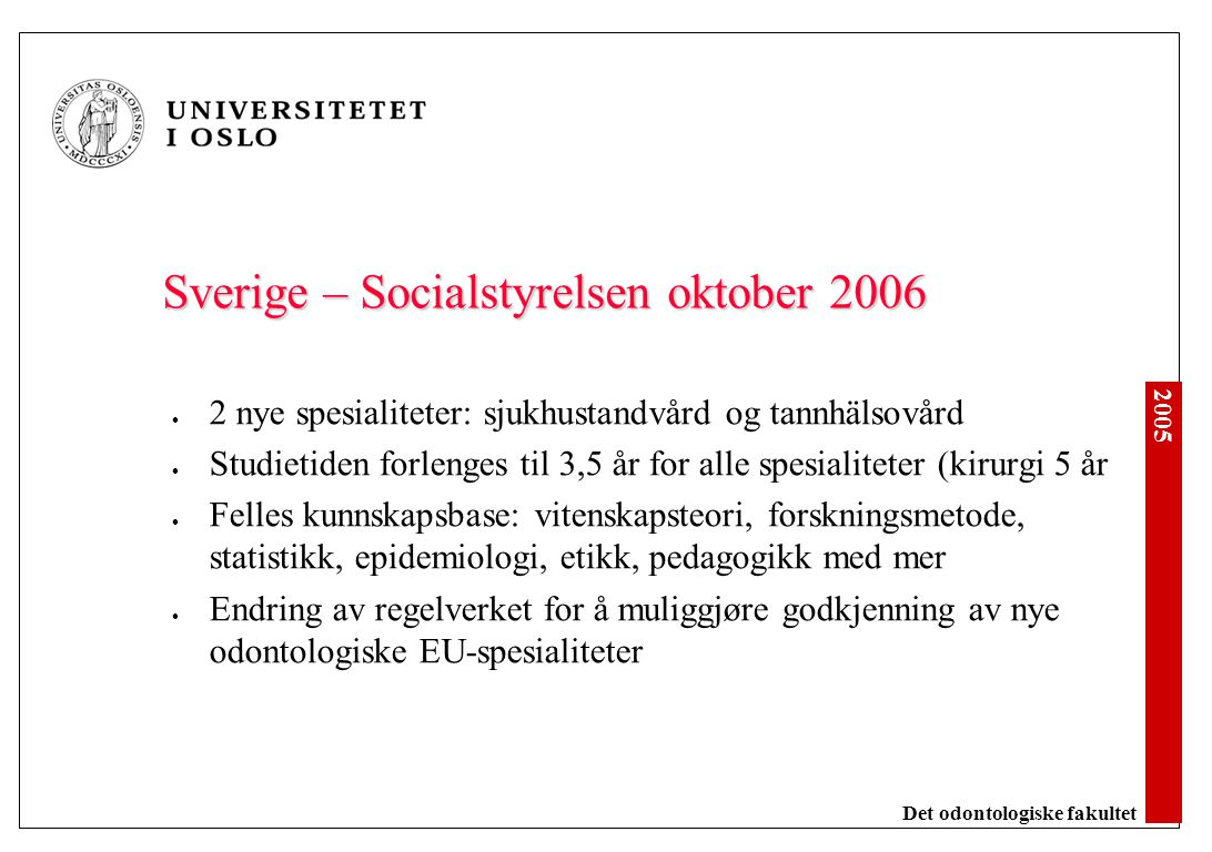 Sverige Ortodonti Oral kirurgi Periodonti Endodonti Pedodonti