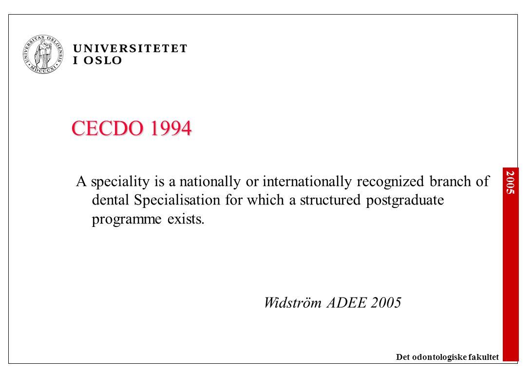 FDI Statement. Specialisation in Dentistry. 2002
