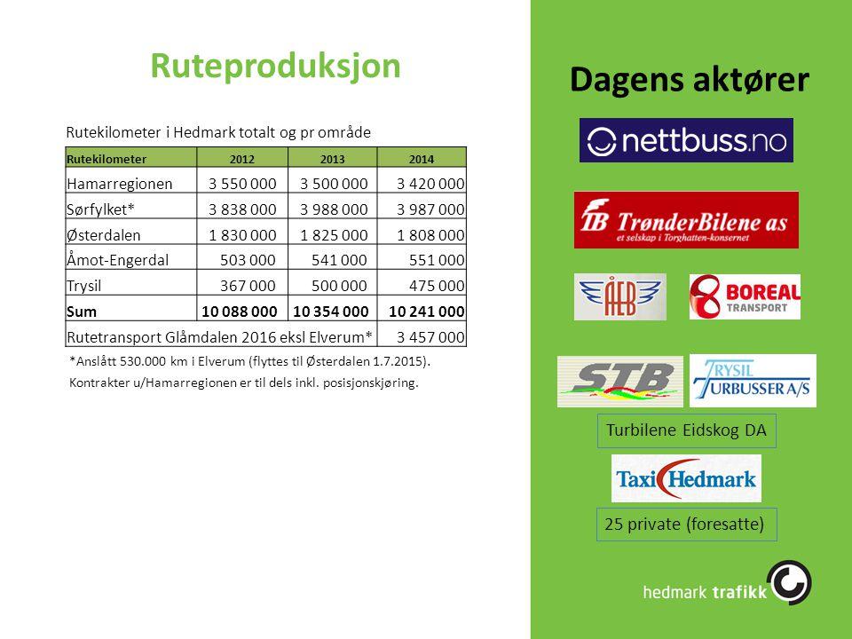 Ruteproduksjon Dagens aktører