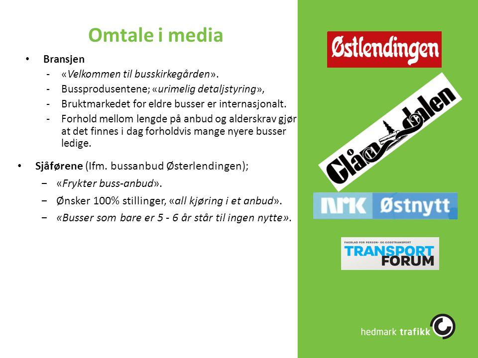 Omtale i media Sjåførene (Ifm. bussanbud Østerlendingen);