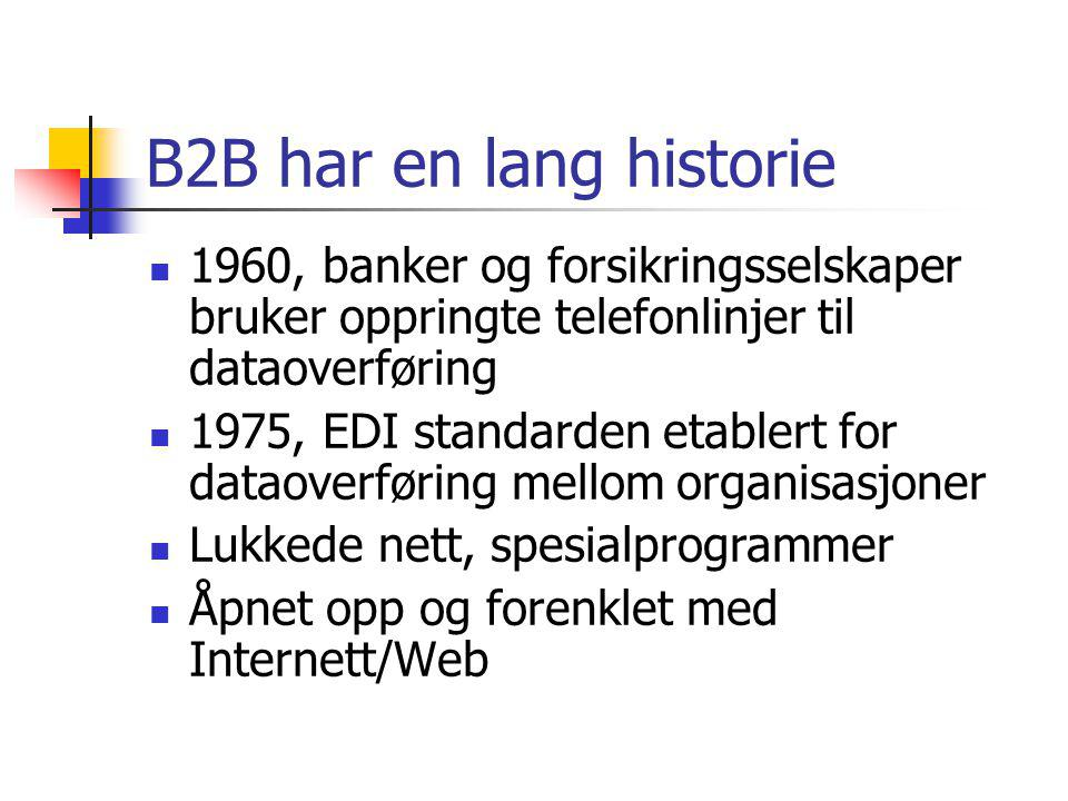 B2B har en lang historie 1960, banker og forsikringsselskaper bruker oppringte telefonlinjer til dataoverføring.