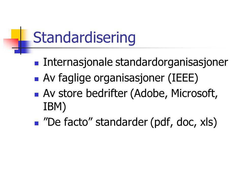 Standardisering Internasjonale standardorganisasjoner