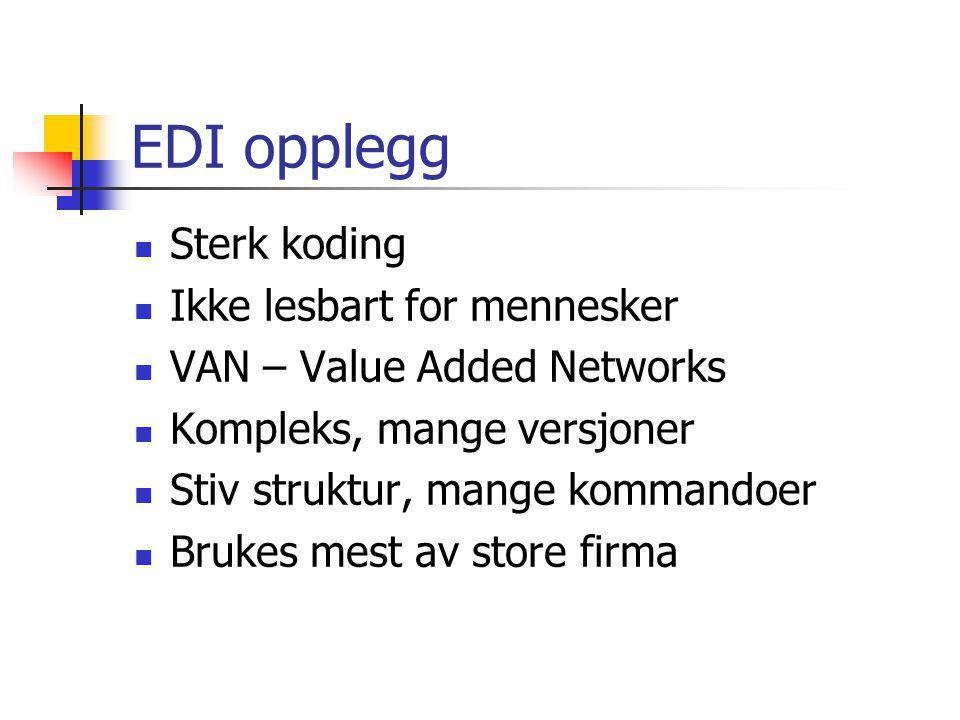 EDI opplegg Sterk koding Ikke lesbart for mennesker