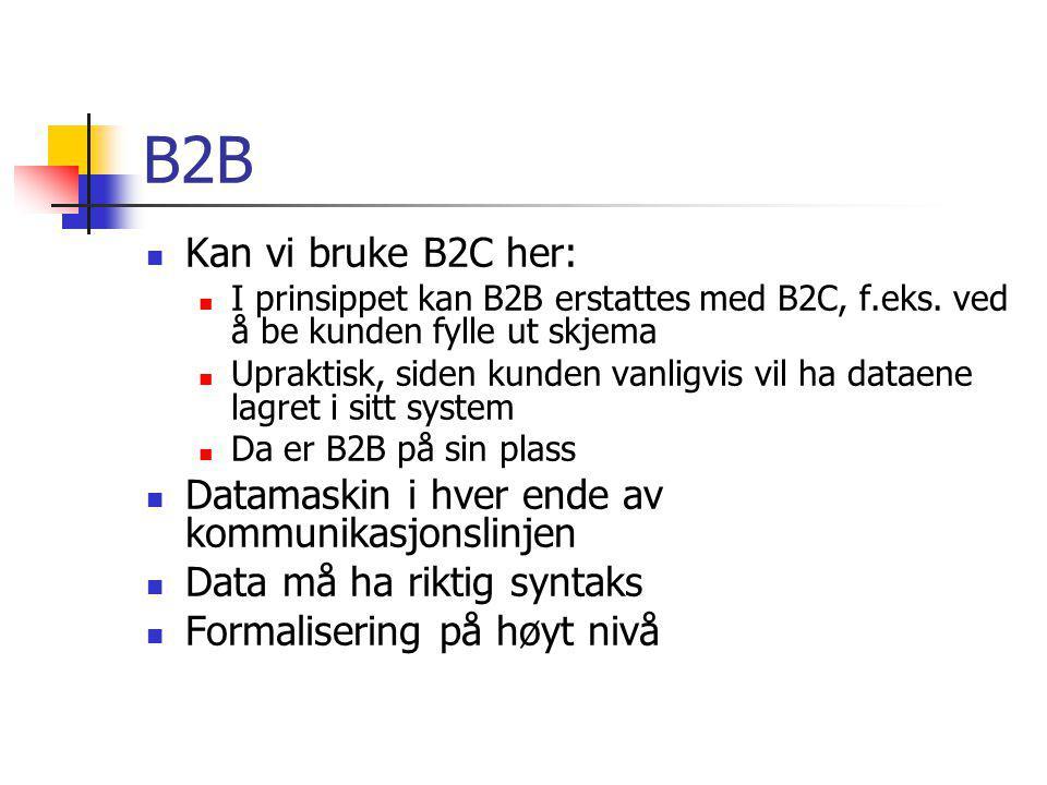 B2B Kan vi bruke B2C her: I prinsippet kan B2B erstattes med B2C, f.eks. ved å be kunden fylle ut skjema.