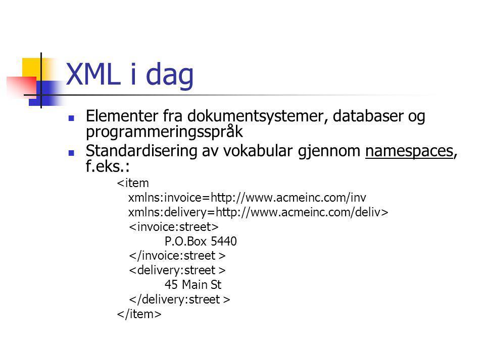 XML i dag Elementer fra dokumentsystemer, databaser og programmeringsspråk. Standardisering av vokabular gjennom namespaces, f.eks.: